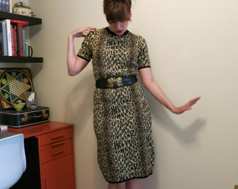 Dress leopard sweater pencil 1950s vintage wiggle by Glengarry M