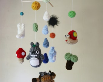Crochet Totoro Nursery Mobile with Neko Bus (Made-To-Order) Customizable