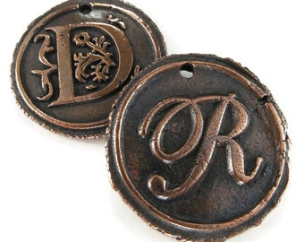 Wax Seal Initial Pendant Necklace in Copper   Double-Sided Letters   Handcrafted Custom Order   Personalized Monogram Jewelry