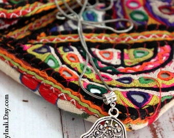 Antique silver Hamsa palm hand Moroccan amulet Bohemian long layering necklace Ethnic Good Luck Moroccan inspired by Inali