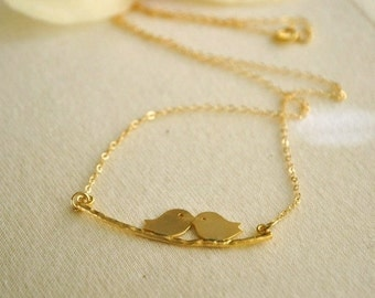 SALE - Was USD 24- Gold Filled Kissing Lovebirds Necklace