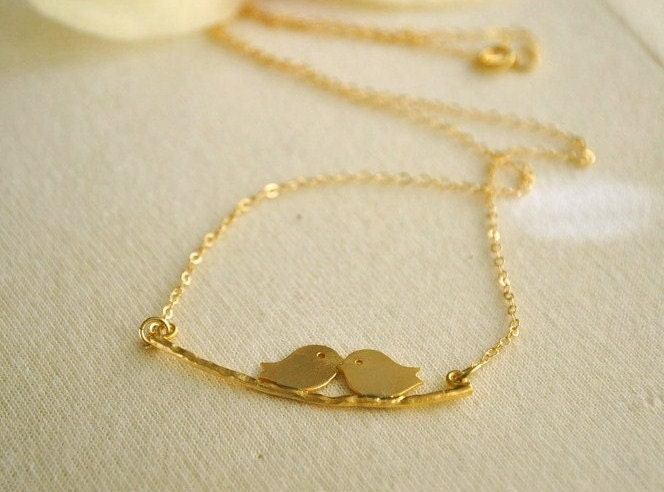 Gold Filled Kissing Lovebirds Necklace