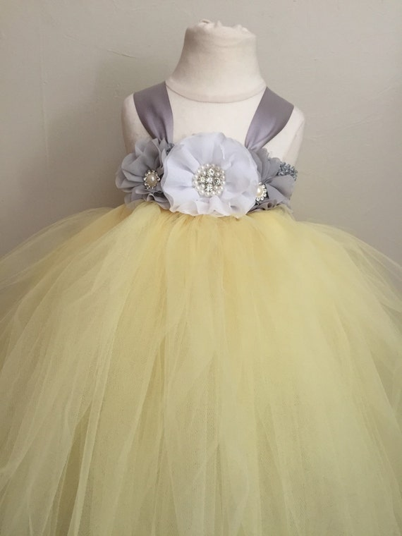 Yellow And Silver Wedding Dresses : Silver grey and yellow tulle flower girl dress girls