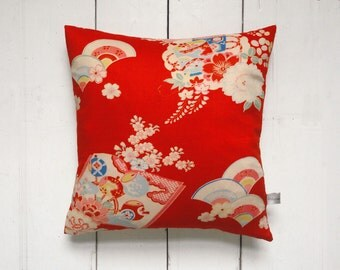 Bright Red Vintage Japanese Kimono Pillow Cushion 'Book and Fan '