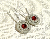 Art Deco Rhinestone Earrings Ruby Repurposed Jewelry by Dabchick Vintage Gems
