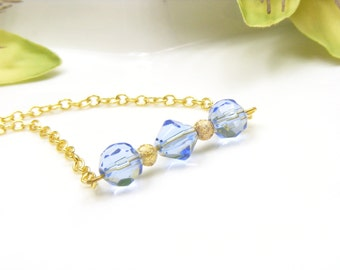 Gold bar necklace, blue bead necklace, blue necklace, gold and blue jewelry, gift under 20, jewellery gift for her, casual necklace.
