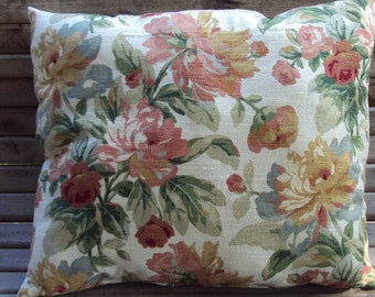 """Floral Barkcloth  with insert 14 X 20"""" Fluffy Pillow Shabby Vintage Country Inspired"""