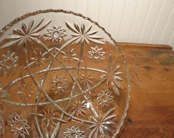 Vintage Crystal Serving Bowl - Star of David Pattern by Anchor Hocking  -  15-365
