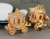 Cinderella Carriage Ornate Rhinestone Crystal Carriage Handbag Purse Gold Alloy KeyChain Key Ring B04
