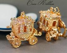 Cinderella Carriage Ornate Rhinestone Crystal Carriage Handbag Purse Gold Alloy KeyChain Key Ring