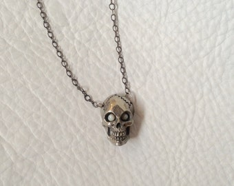 SALE White Bronze skull with opal eyes necklace pendant