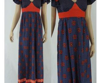 SALE Vintage Sixties Maxi Dress -  1960s Red and Blue Maxi Dress - 60s Polka Dot Long Dress - XS
