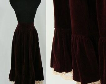SALE Vintage Seventies Gunnies Skirt - 1970s  Velvet Mid Length Skirt - 70s Crandberry Midi Skirt - XS