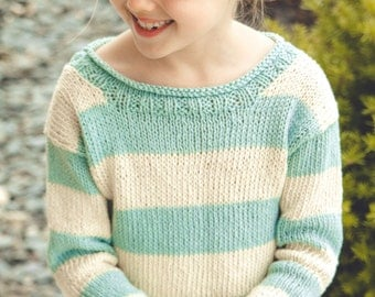 KNITTING PATTERN PDF file for children's pullover-written for 4 weights