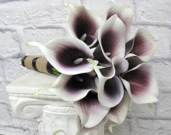 Real touch calla lily Wedding bouquet, Picasso plum burlap Bridesmaid bouquet
