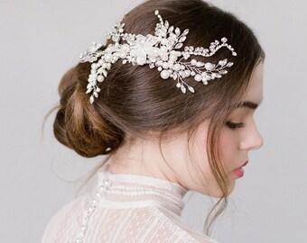 Etta Silver Pearl Swarovski Hair Piece Comb Bridal  Wedding