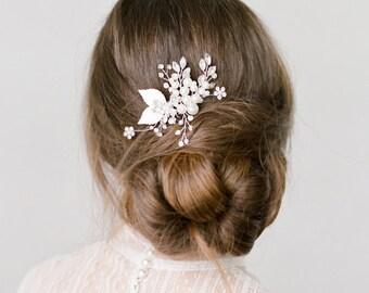 Alexa Silver Crystal Pearls Hair Comb Bridal  Headpiece Wedding
