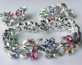 Lisner Aurora Borealis Rhinestone Set -  Bracelet, Brooch and Earrings