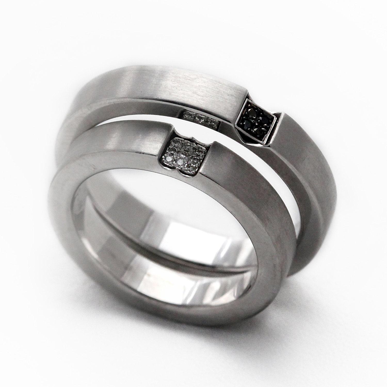 wedding band set promise rings rings 14k white gold