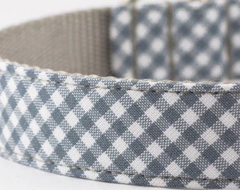 Grey Gingham Dog Collar