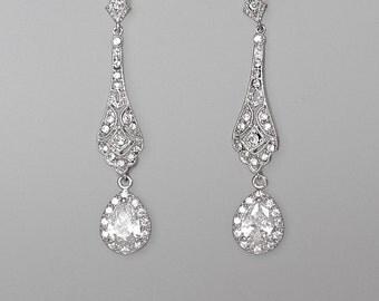 Crystal Bridal Earrings, Deco Crystal Drop Earrings, Vintage Dangle Earrings, 20's Bridal Jewelry, Wedding Jewelry, VIOLET