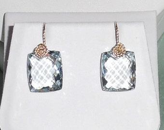 25cts Natural Emerald CKB cut Sky Blue Topaz stones, 14kt yellow gold Pierced Earrings