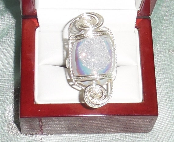 Oval Opal Titanium Druzy Drusy Geode Agate stone, Sterling Silver Ring Size 8.5