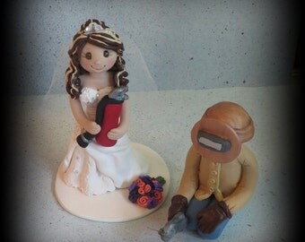 Wedding Cake Topper, Custom Cake Topper, Personalized, Welder, Polymer Clay, Bride and Groom, Wedding/Anniversary Keepsake