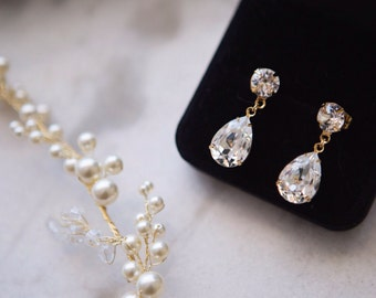 Wedding Jewelry, Crystal Bridal Earrings, Gold Teardrop Earrings, Teardrop Earring