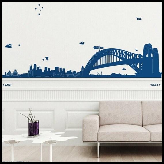 SYDNEY WALL DECAL : Huge Sydney Skyline (Opera, Harbour Bridge, Circular Q) Australia. With Rocks, towers, trees and stars