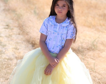 Full Length Tutu - Girls Long SEWN Tutu - Flowergirl tulle skirt - Wedding tutu - Full length tulle skirt - yellow tutu - flowergirl tutu