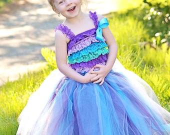Full Length Tutu - Girls Long SEWN Tutu - Flowergirl tulle skirt Wedding tutu - Full length tulle skirt - blue purple tutu - flowergirl tutu