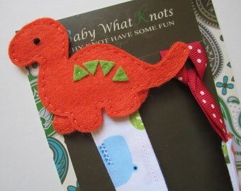 DeluXe Dinosaur Pacifier Clip, Boy Pacifier Clip, Fabric Pacifier Clip, Orange Dino Pacifier Clip, Pacifier Holder, pcfab05