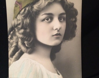 Real Photo Postcard - Beautiful Curly Haired Girl with Hat - Tinted - RPPC - Antique Photo