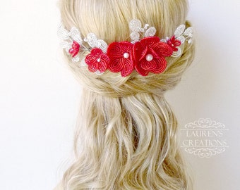Large French Beaded Flower Wedding Hair Comb, red and white bridal hair piece, floral hair accessory for brides, decorative comb, hair vine