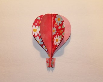"""3d Hot Air Balloon - 5""""  soft pink, red, white and blue with flowers"""