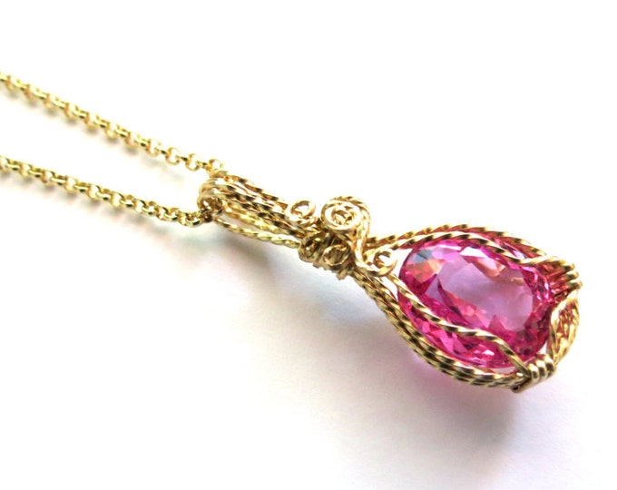 Free Chain with Gold 13.45 carat Pink Topaz  Pendant in 14 k Gold Filled, Wire Wrapped Jewelry, Fancy