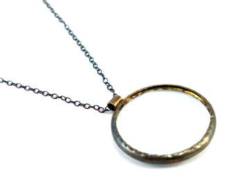 Magnifying Glass Necklace, Sterling Silver, Magnifier Necklace, Magnifying Pendant Necklace