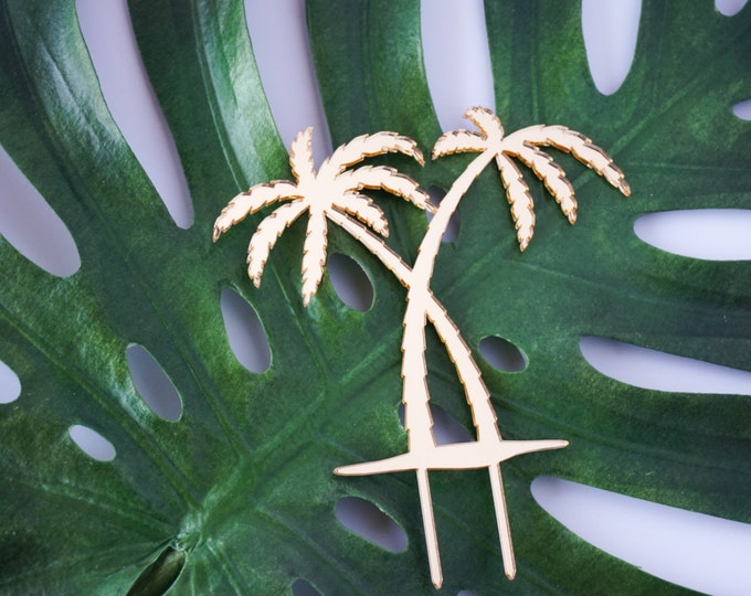 Palm Tree Tropical Wedding, Birthday, Celebration, Cake Topper, Laser Cut, Acrylic, Gold, Black, Pink
