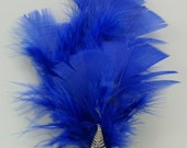 Royal Blue Feather Hair Fastener with Silver Fern Accent