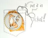 Fox Embroidery Kit. DIY Hoop art. Fox and foxgloves design. Childrens art. Wall art. Hand Embroidery.Girl gift. Woodland animal. DIY kit