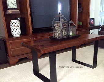 """ONE PAIR of 3"""" OR 4"""" Wide Flat Bar Hand Forged Iron Metal Steel Modern Industrial Frame Legs Heavy Duty by VinTin"""