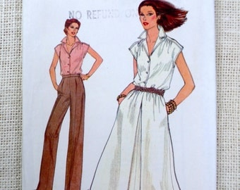 Vintage Vogue 7088 Pattern Bust 32.5 34 Shirt pants Collar flared skirt A line Short sleeves shirred pleated uncut