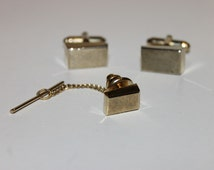 Vintage Gold Tone Rectangular Anson Cuff Links and Tie Tack