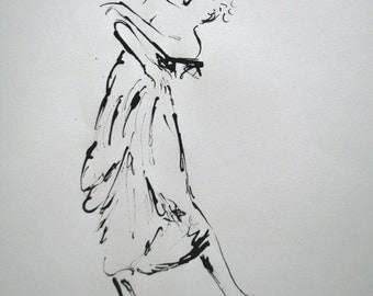 Original ink drawing - Isadora Duncan - art painting - europeanstreetteam