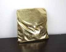 Rare Vintage Gold Lamé Backpack, Carlos Falchi Slim Backpack Purse 1980s Disco Revival Metallic Festival Day Pack Bag, United States, 150009