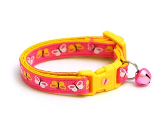 Butterfly Cat Collar - Yellow and White Butterflies on Bright Pink - Small Cat / Kitten Size or Large Size