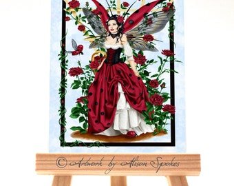 Ladybug Fairy Red Rose Fairy ACEO ATC Art Card