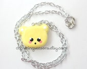 Yellow Kawaii Bear Necklace, Pastel Face, Teddy Bear Head Harajuku Pendant Jewelry