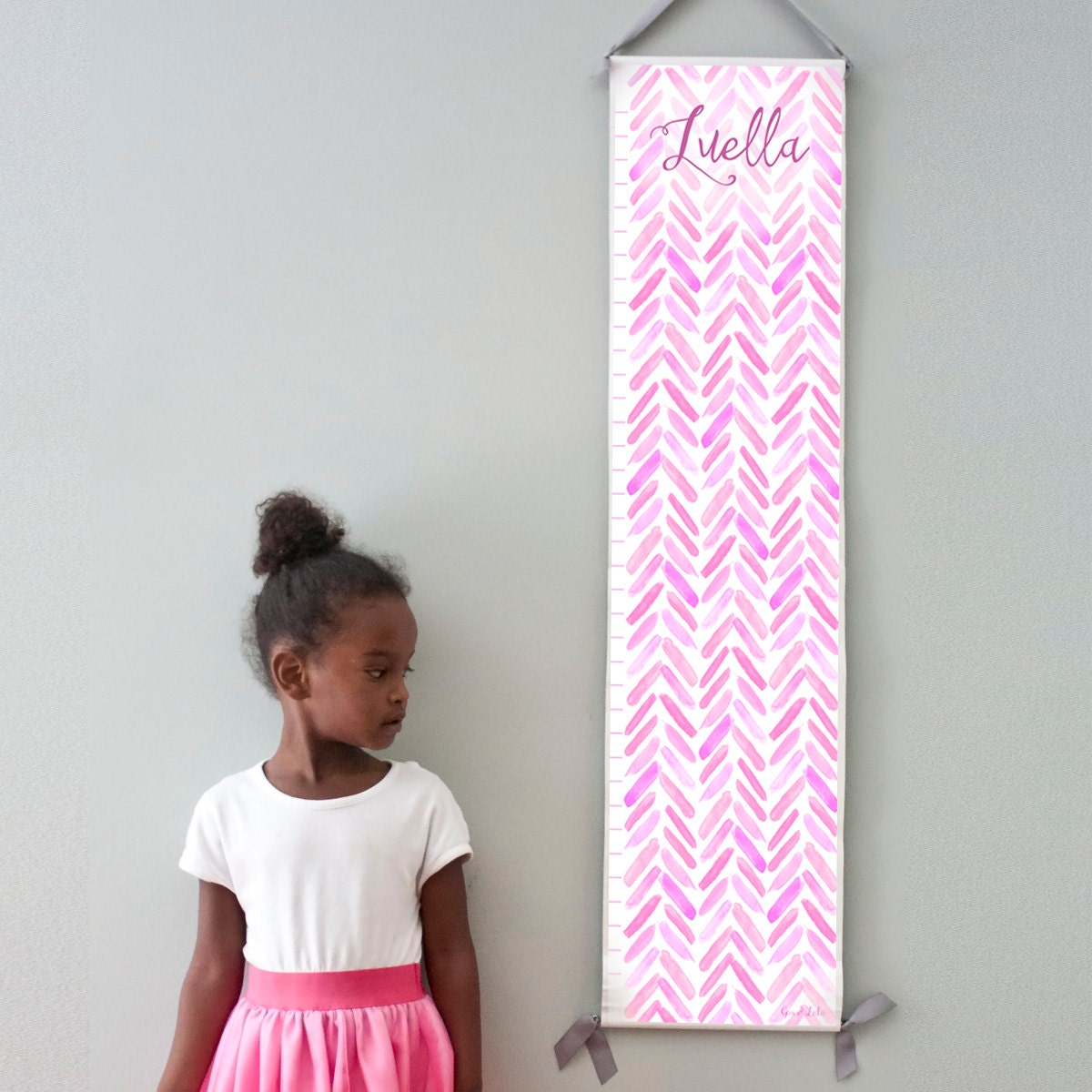 Custom/ Personalized Purple, Pink and Lavender Watercolor Chevron Growth Chart - Perfect for baby girl nursery or big girl room